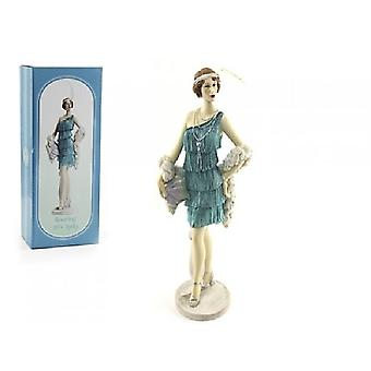 Roaring 20s Lady Azure On Stand 33cm Figurine Decorative Ornament