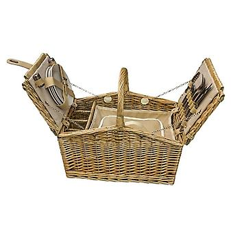 Butterfly Lidded 4 Person Fitted Farmhouse Picnic Basket