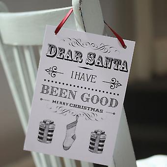 Dear Santa Card Hanger - I have Been Good / Not So Good - 2 cards with ribbon