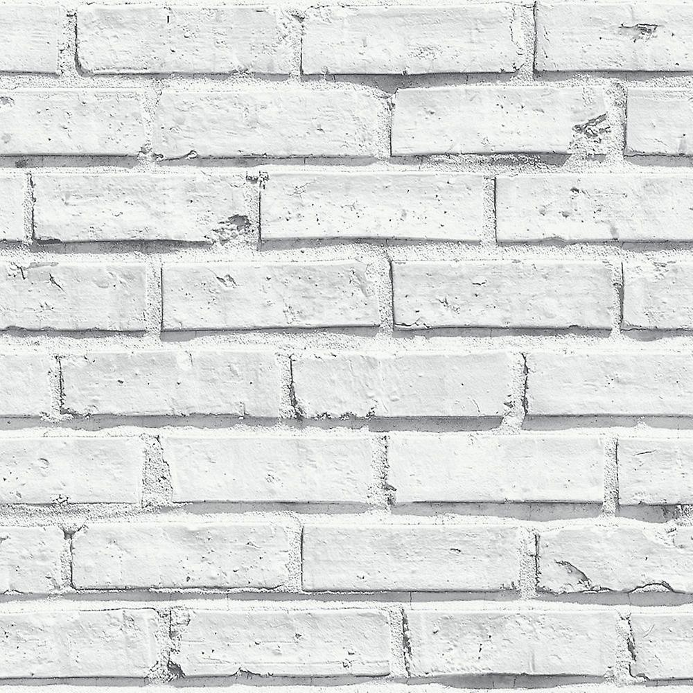 Arthouse White Brick Wall Photographic Stone Effect Natural Feature Wallpaper