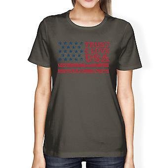 Trust Love USA amerikanska flaggan skjorta dam mörk grå rund hals Tee