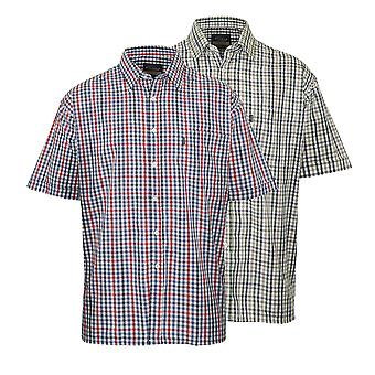 2 Pack Mens Champion Country Style Casual Check Short Sleeved Shirt 3036