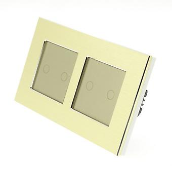 I LumoS Gold Brushed Aluminium Double Frame 4 Gang 1 Way WIFI/4G Remote & Dimmer Touch LED Light Switch Gold Insert
