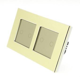 Ho LumoS oro spazzolato alluminio doppio telaio 4 Gang 1 modo toccare luce LED oro gruppo interruttore