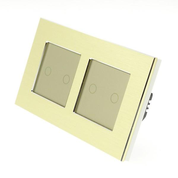 I LumoS or Brushed Aluminium Double Frame 4 Gang 2 Way Remote Touch LED lumière Switch or Insert