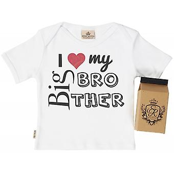 Spoilt Rotten I Love My Big Bro Babys T-Shirt 100% Organic In Milk Carton