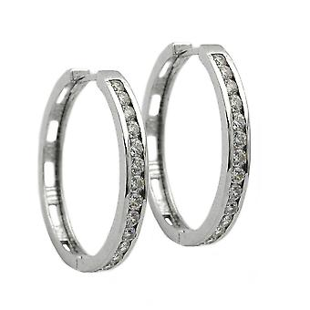 Silver Creole many white cubic zirconia Creole glitter Klappcreole rhodium plated silver