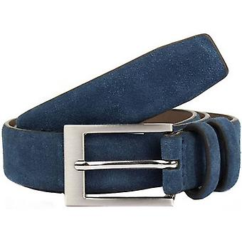 Dents Suede Belt - Navy