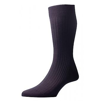 Pantherella Kangley Rib Merino Wool Socks - Black