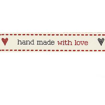 15mm  'Hand Made With Love' Decorative Ribbon for Crafts - 4m