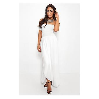 The Fashion Bible Sissi White Front Split Bardot Dress