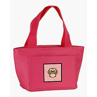 Checkerboard Pink Chocolate Brown Shih Tzu Lunch Bag