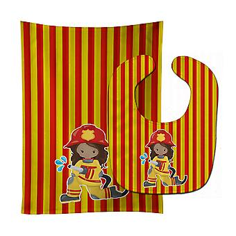 Carolines Treasures  BB7000STBU Fireman Girl Baby Bib & Burp Cloth