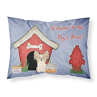 Dog House Collection Papillon Sable White Fabric Standard Pillowcase