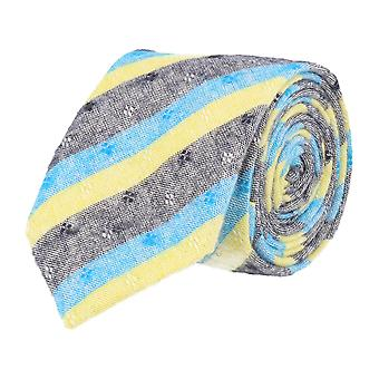 Snobbop narrow tie cotton blue light blue yellow floral washed out 6 cm
