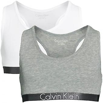 Calvin Klein Girls 2 Pack Customized Stretch Bralette, Heather Grey / White, Medium