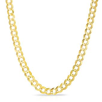 10k Gelb Gold Mens dick solide Bordstein Cuban Link-Kette, 0,3 Zoll (8,5 mm)