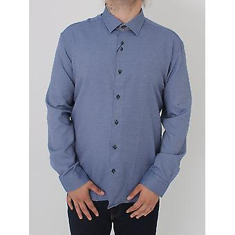 Remus Uomo Parker Patterned Tapered Shirt - Blue