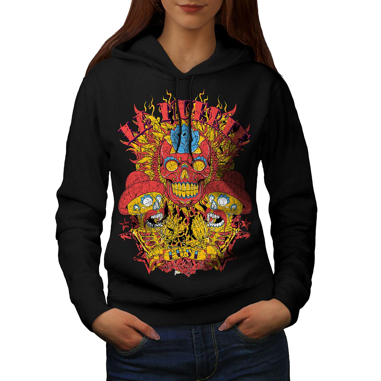 Day Of Dead Muerte Skull Women Black Hoodie | Wellcoda
