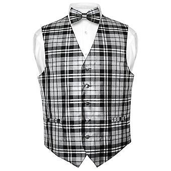 Plaid Design robe Vest masculine & noeud papillon papillon Set