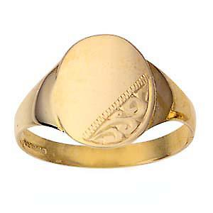 9ct guld 13x11mm gents graverad oval Signet ring