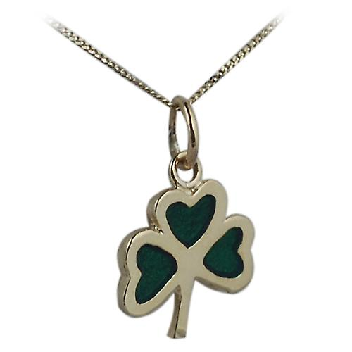 9ct Gold 13x13mm Shamrock with green cold cure enamel with Curb chain