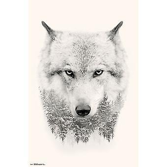 Wolf - träd affisch Skriv
