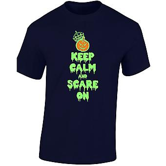 Keep Calm And Scare On Halloween Fancy Dress Glow In Mens T-Shirt 10 Colours (S-3XL) by swagwear