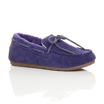 Ajvani женские искусственной овчины меховой гибкие единственная лодка обувь мокасины Тапочки
