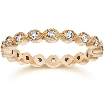 1 / 3ct stapelbar Diamant Hochzeit Eternity Ring 14K Rose Gold