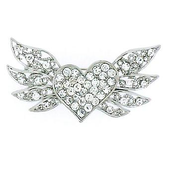 Brooches Store Silver  and  Crystal Heart with Wings Brooch