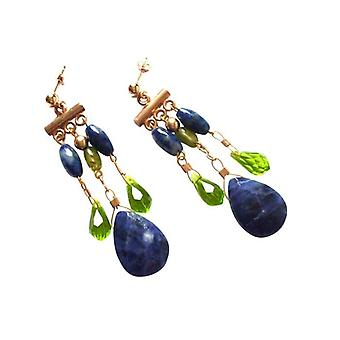 Chandeliers chandelier earrings gold plated lapis lazuli and Peridot TAMARA