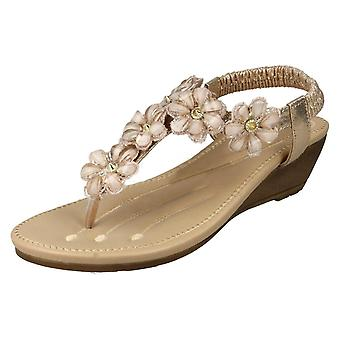 Ladies Savannah Mid Wedge Toepost Sandals F10781 - Gold Synthetic - UK Size 6 - EU Size 39 - US Size 8
