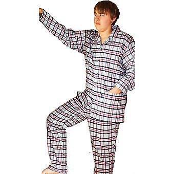 Mens JOCKEY Brushed Cotton Pyjama 52301-Grey Background Check-2X-Large 50-52