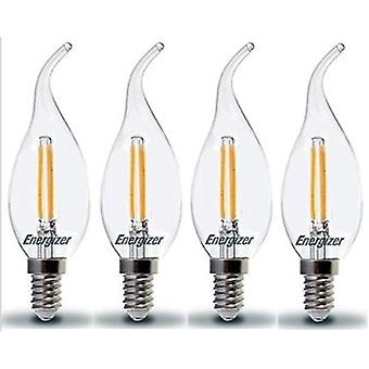 4 X Energizer LED Bent Tip Candle SES E14 2.4W = 25W 250lm 2700 K Warm White Chandelier Bulb  [Energy Class A+]
