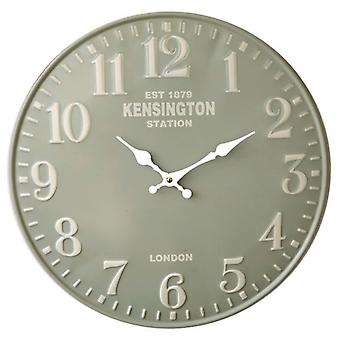 Retro wall clock Kensington Station green.