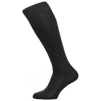 Pantherella Tabbard Cotton Lisle Tailored Over the Calf Socks - Black