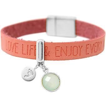 Gemshine - Damen - Armband - Fußabdruck - 925 Silber - WISHES - Rosa - Pink - Chalcedon - Meeresgrün - Magnetverschluss