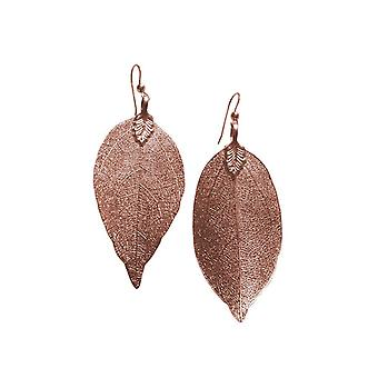 Gemshine - damer - øredobber - rose gold - leaf - rose - natur - 7 cm