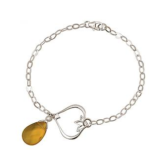 Women - bracelet - 925 Silver - Lotus Flower - citrine quartz - drop - GoldGoldgelb - YOGA