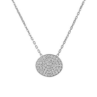 Sparkling Oval Disc Necklace