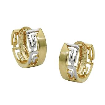 Creole 12x5mm hinged flip top bicolor 9Kt GOLD rhodium-plated