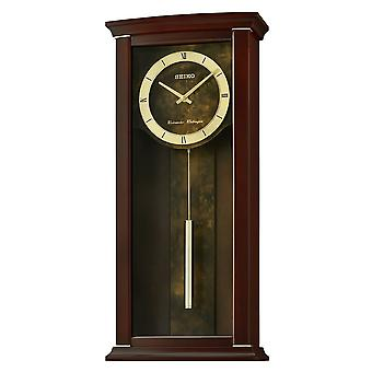 Seiko QXH067B Dual Chimes Wooden Wall Clock with Pendulum