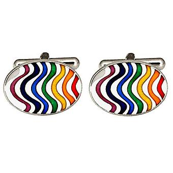 David Van Hagen Rainbow Wave Cufflinks - Multi-colour