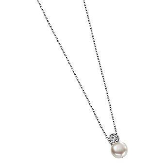 Delar Silver Cubic Zirconia och Pearl Drop Pendant - Silver/vit