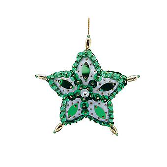 SALE - Pinflair Sequin & Pin Green Star Bauble Ornaments - Makes 2