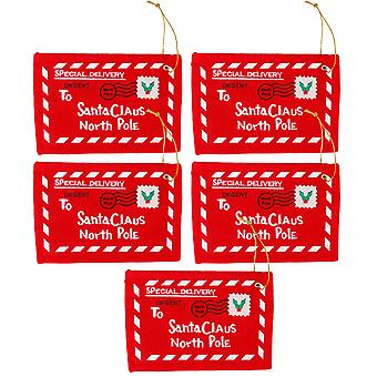 TRIXES Set of 5 Novelty Red Fabric Christmas Envelopes