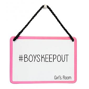 Girls Bedroom Boys Keep Out Novelty Metal Door Plaque