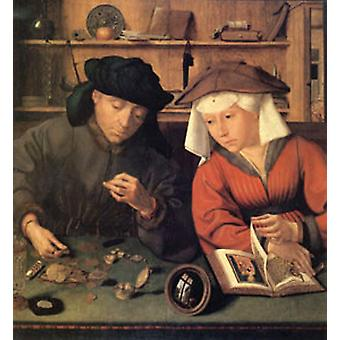 The Moneylender and His Wife, Quentin Massys,50x50cm