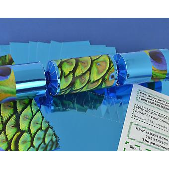 8 Blue Foil Peacock Feather Make & Fill Your Own Party Crackers Kit